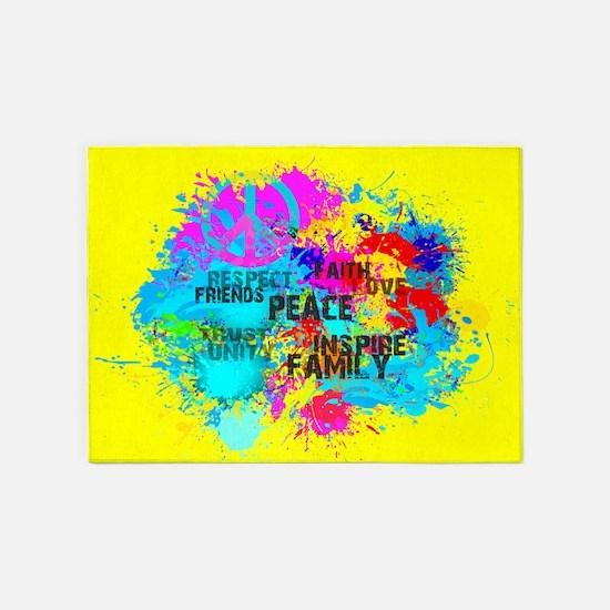 Splash Words of Good Yellow Peace 5'x7'Area Rug