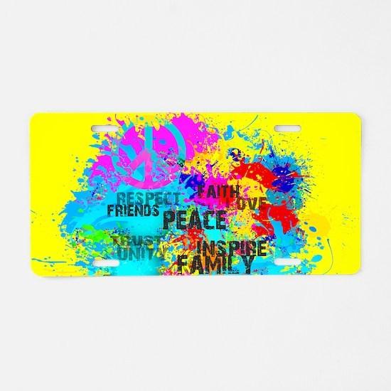 Splash Words of Good Yellow Aluminum License Plate