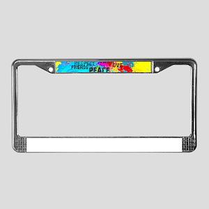 Splash Words of Good Yellow Pe License Plate Frame