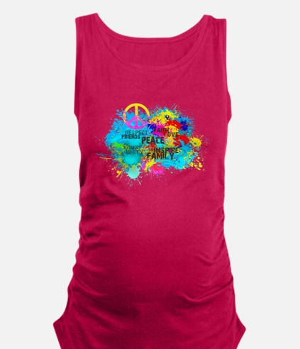 Splash Words of Good Peace Maternity Tank Top