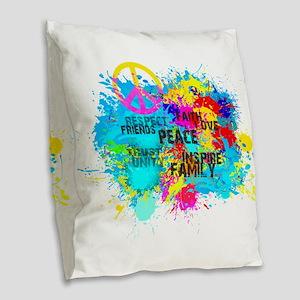 Splash Words of Good Peace Burlap Throw Pillow