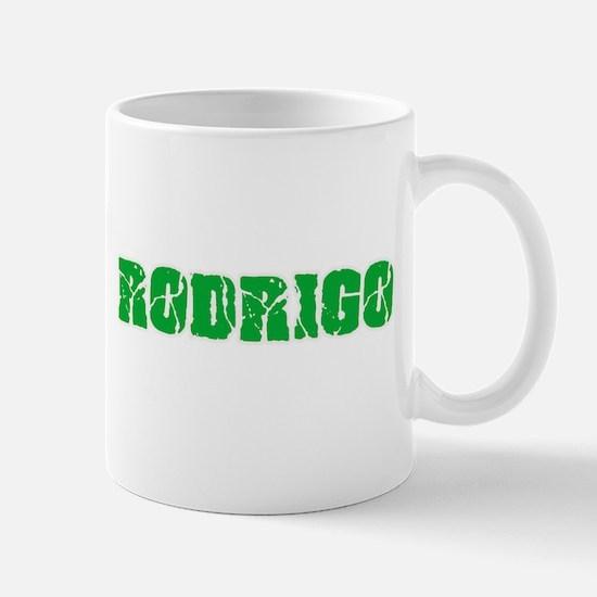 Rodrigo Name Weathered Green Design Mugs
