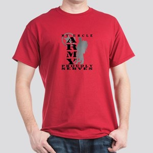 Uncle Proudly Serves 2 - ARMY  Dark T-Shirt
