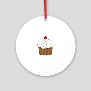 Sprinkled Cupcake Round Ornament