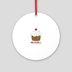 Happiness Cupcake Round Ornament