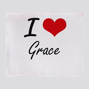 I Love Grace artistic design Throw Blanket