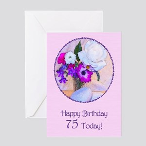 75th Birthday With Painted Flowers Greeting Cards