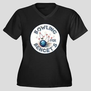 BOWLING FOR Women's Plus Size V-Neck Dark T-Shirt