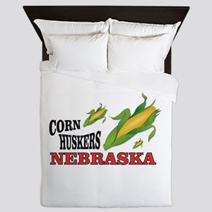 NB corn huskers Queen Duvet