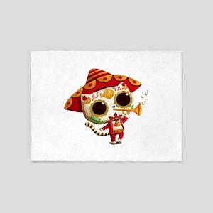 El Mariachi Cute Cat Dia de Los Muertos 5'x7'Area