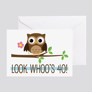40th Birthday Owl Greeting Cards