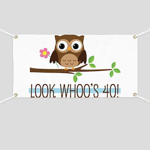 40th Birthday Owl Banner