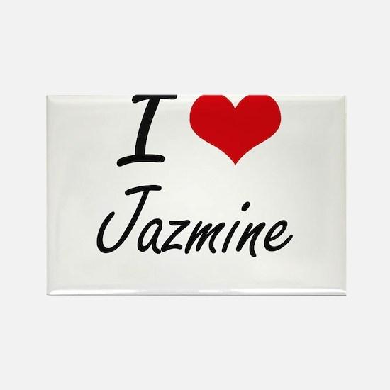 I Love Jazmine artistic design Magnets