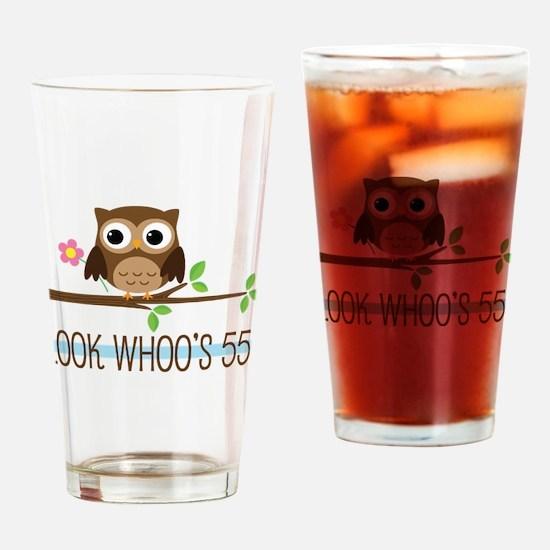 55th Birthday Owl Drinking Glass