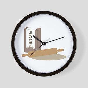 Rolling Pin & Flour Wall Clock
