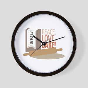 Peace Love Bake Wall Clock
