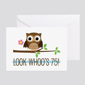 Owl birthday greeting cards cafepress 75th birthday owl greeting card m4hsunfo