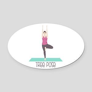 Yoga Tree Pose Oval Car Magnet
