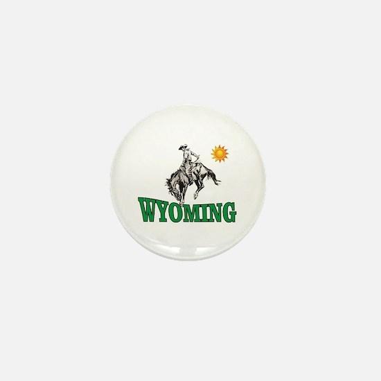 wyoming cowboy logo Mini Button (10 pack)