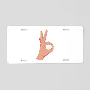 Okay Hand Sign Aluminum License Plate