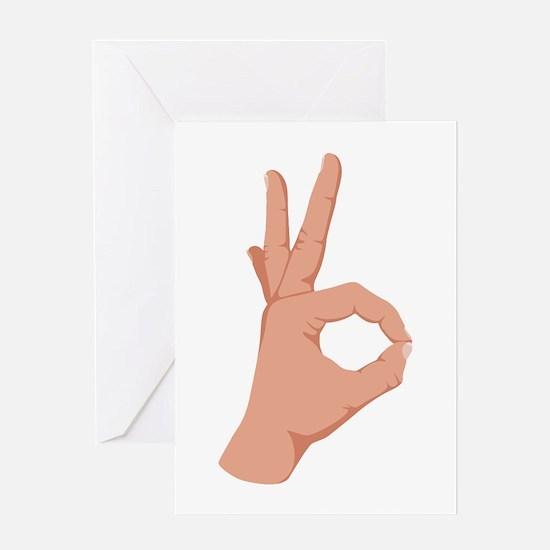 Okay Hand Sign Greeting Cards