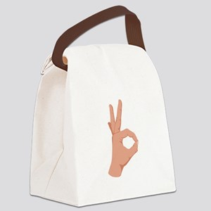 Okay Hand Sign Canvas Lunch Bag