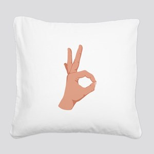 Okay Hand Sign Square Canvas Pillow
