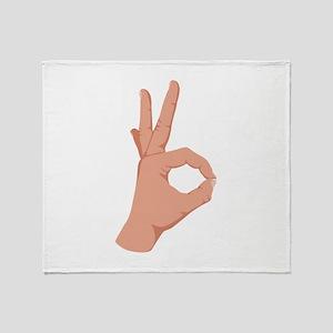 Okay Hand Sign Throw Blanket