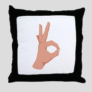 Okay Hand Sign Throw Pillow