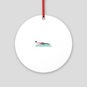 Plank Yoga Pose Round Ornament