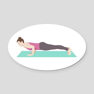 Plank Yoga Pose Oval Car Magnet