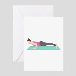 Plank Yoga Pose Greeting Cards