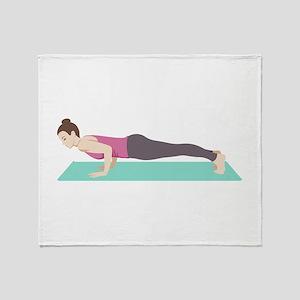 Plank Yoga Pose Throw Blanket