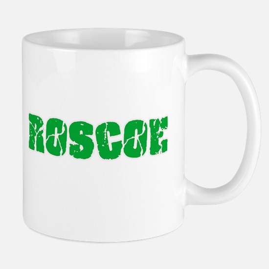 Roscoe Name Weathered Green Design Mugs