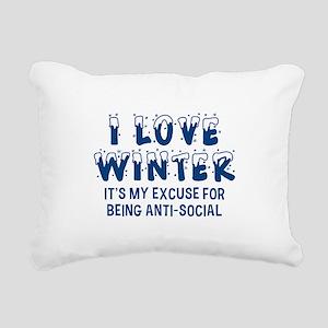 I Love Winter Rectangular Canvas Pillow
