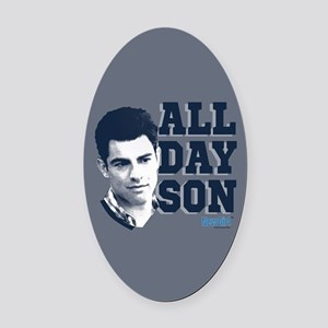 New Girl All Day Son Oval Car Magnet