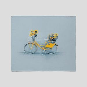 Yellow sunflower vintage bike sunflo Throw Blanket