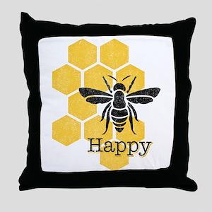 Honeycomb Bee Happy Throw Pillow