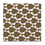 Starry Flounder Pattern Tile Coaster