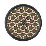 Starry Flounder Pattern Large Wall Clock