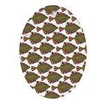 Starry Flounder Pattern Oval Ornament