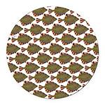 Starry Flounder Pattern Round Car Magnet