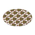 Starry Flounder Pattern Oval Car Magnet