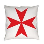 Red Maltese Cross Everyday Pillow