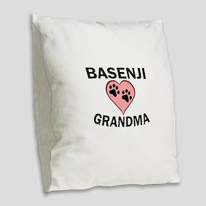 Basenji Grandma Burlap Throw Pillow