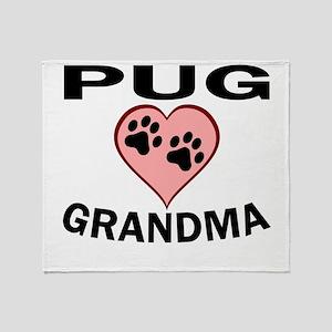 Pug Grandma Throw Blanket