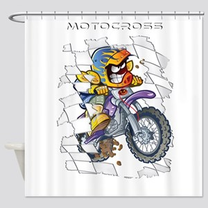young motocross racer Shower Curtain