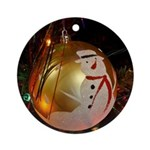 Frosted Snowman Ornament Round Ornament