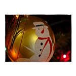 Frosted Snowman Ornament 5'x7'Area Rug