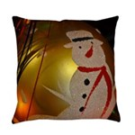 Frosted Snowman Ornament Everyday Pillow